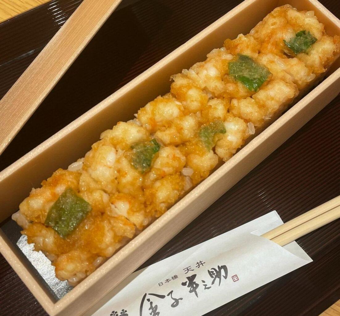日本橋天丼金子半之助の海老天押し寿司