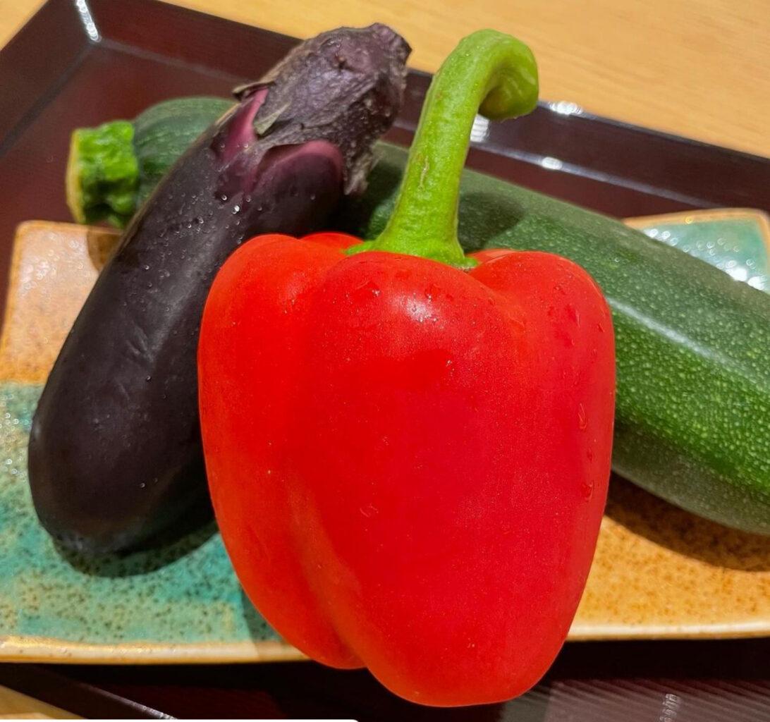 日本橋天丼金子半之助小矢部の夏野菜天ぷら盛り合わせ